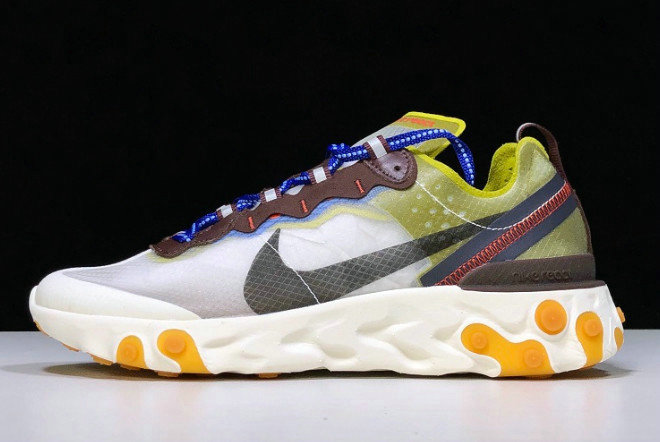 Where To Buy 2020 Nike React Element 87 Moss Moss Black-El Dorado-Deep Royal Blue AQ1090-300 - www.wholesaleflyknit.com