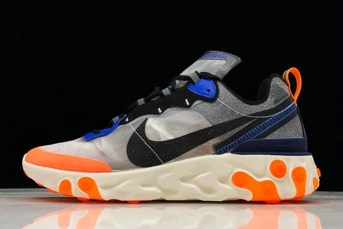 Where To Buy 2020 Nike React Element 87 Wolf Grey Thunder Blue-Total Orange-Black AQ1090-004 - www.wholesaleflyknit.com
