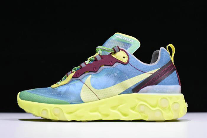 Where To Buy 2020 Undercover x Nike React Element 87 Blue Volt Lakeside Electric Yellow BQ2718-400 - www.wholesaleflyknit.com