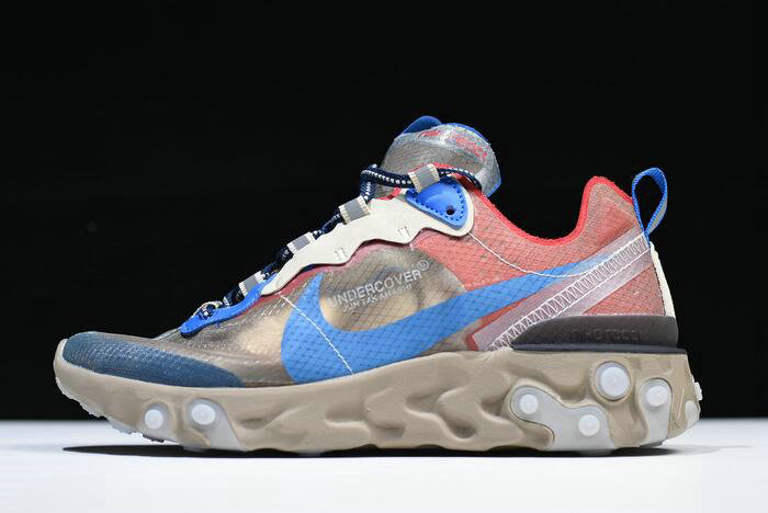 Where To Buy 2020 Undercover x Nike React Element 87 Light Beige Chalk Signal Blue BQ2718-200 - www.wholesaleflyknit.com