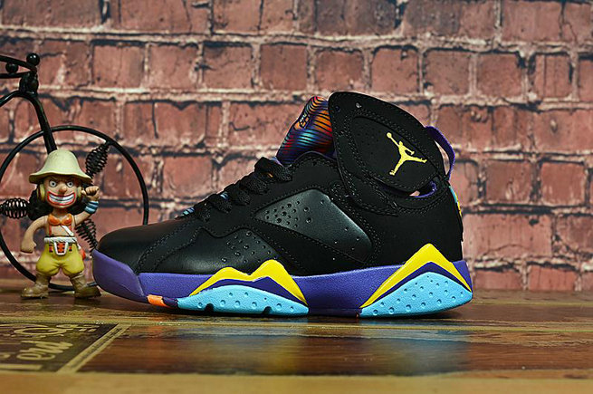2020 Womens Cheap Wholesale Nike Air Jordan 7 Retro Black Yellow Blue Purple - www.wholesaleflyknit.com