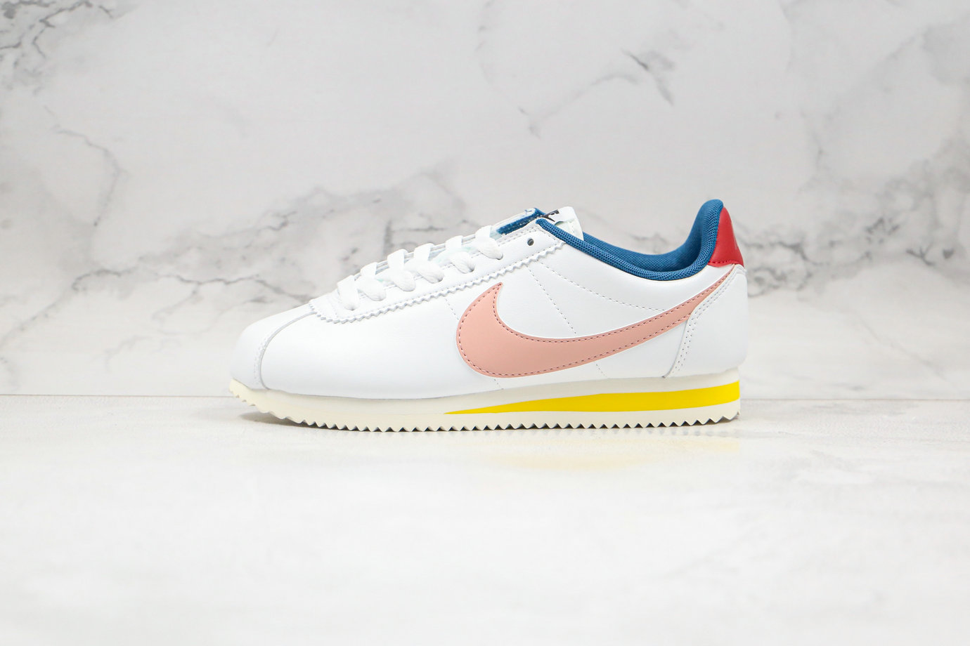 2020 Womens Cheapest Nike Classic Cortez Leather Summit White Coral Stardust 807471-114 - www.wholesaleflyknit.com