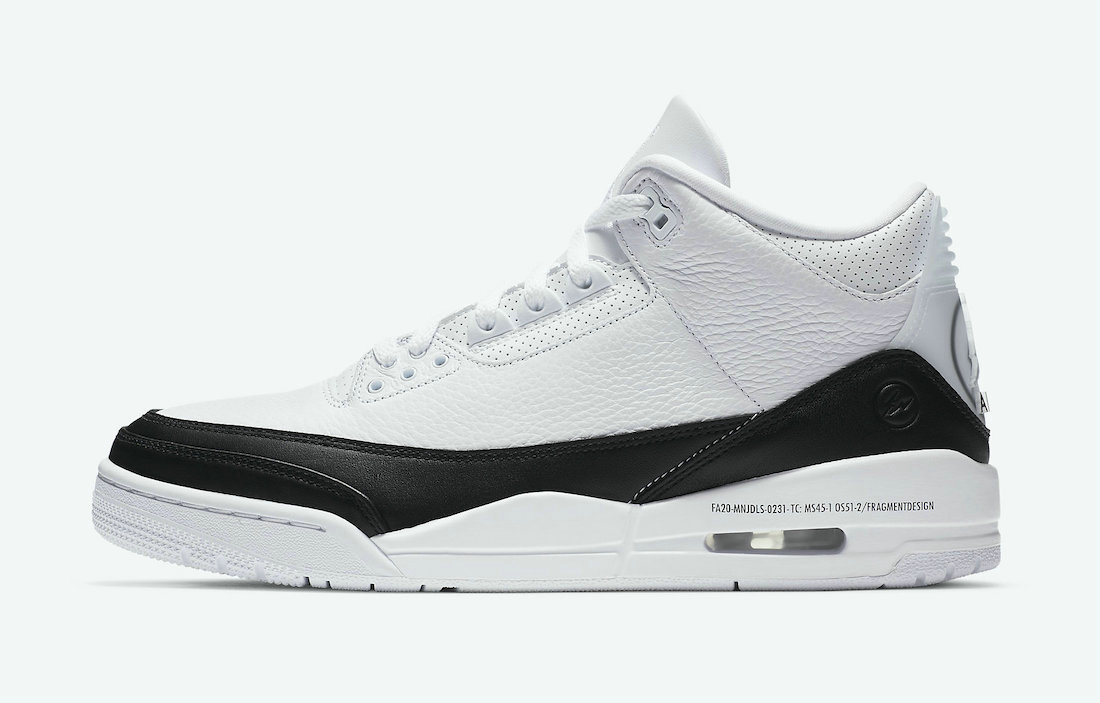 2021 Wholesale Cheap Fragment x Nike Air Jordan 3 White Black-White DA3595-100 - www.wholesaleflyknit.com