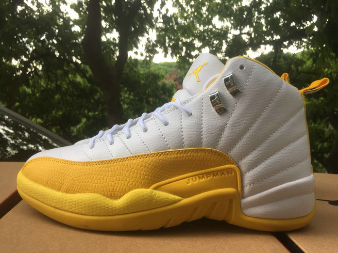 2021 Wholesale Cheap Nike Air Jordan 12 White Golden - www.wholesaleflyknit.com