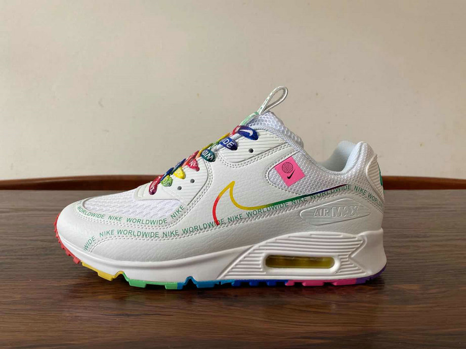 2021 Wholesale Cheap Nike Air Max 90 SE Worldwide White Colorful - www.wholesaleflyknit.com
