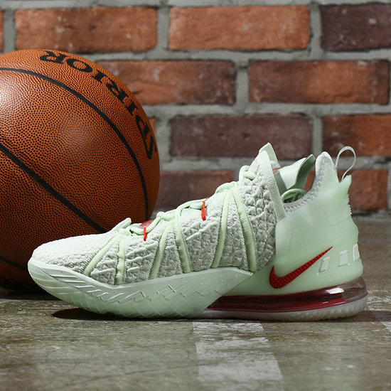 2021 Wholesale Cheap Nike Lebron James 18 Light Green Red - www.wholesaleflyknit.com