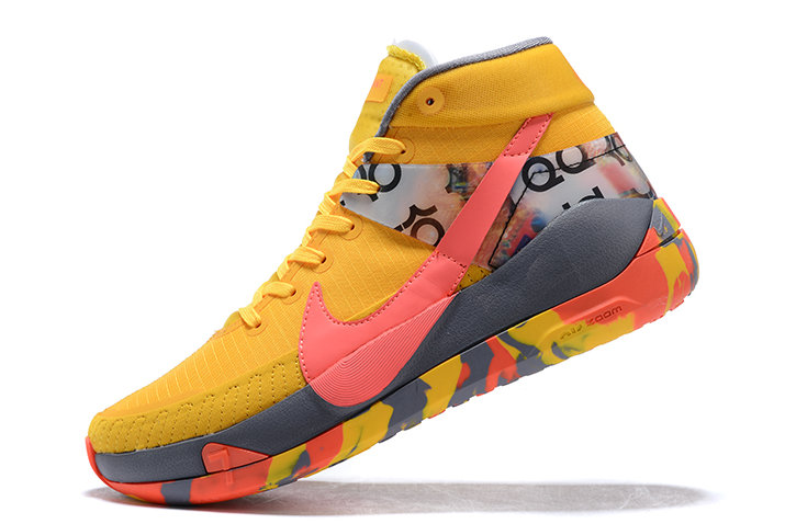 2021 LATEST RELEASE NIKE KD 13 BRIGHT YELLOW GREY-PINK SHOES FOR MEN - www.wholesaleflyknit.com