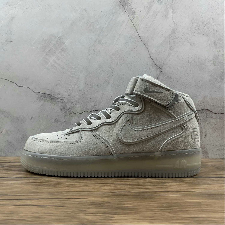 2021 Where To Buy Wholesale Cheap Nike Air Force 1 Mid Reigning Champ Grey Silver Reflective GB1228-185 - www.wholesaleflyknit.com
