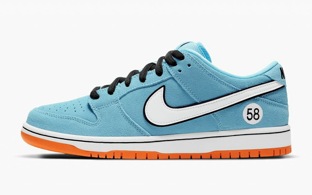2021 Where To Buy Wholesale Cheap Nike SB Dunk Low Gulf Blue Chill Safety Orange-Black-White BQ6817-401 - www.wholesaleflyknit.com