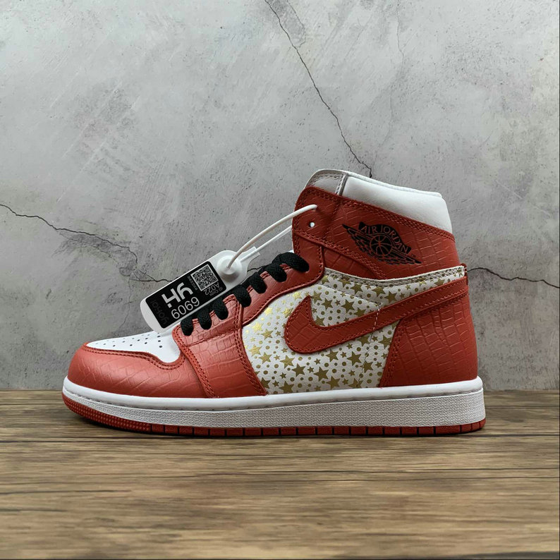 2021 Where To Buy Wholesale Cheap Supreme x Nike Jordan 1 Retro High White Gym Red Gold Stars 555088-600 - www.wholesaleflyknit.com