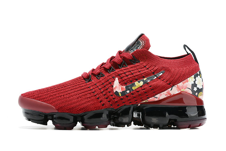 2021 Where To Buy Cheap Womens Nike Air VaporMax Flyknit 3.0 Red Black Flower Print - www.wholesaleflyknit.com