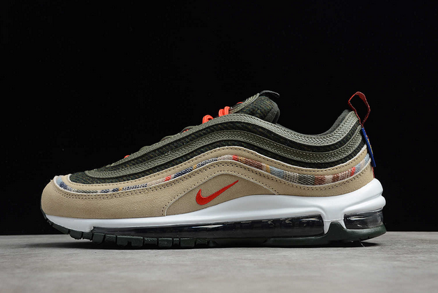 2021 Where To Buy Womens Wholesale Cheap Nike Air Max 97 By You Pendleton Black Olive Army Green Orange DC3494-992 - www.wholesaleflyknit.com