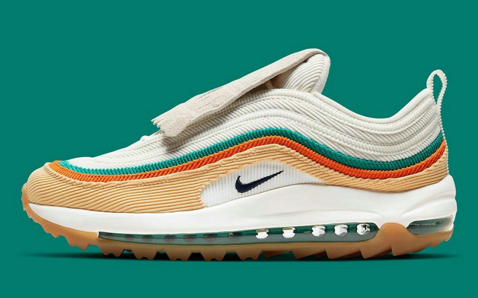 2021 Where To Buy Womens Wholesale Cheap Nike Air Max 97 Golf Kiltie Celestial Gold Sail Neptune Green Obsidian CJ0563-200 - www.wholesaleflyknit.com