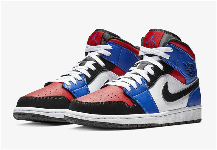 Cheap Wholesale Air Jordan 1 Mid 852542-400 White leather upper with Navy overlays and Black - www.wholesaleflyknit.com