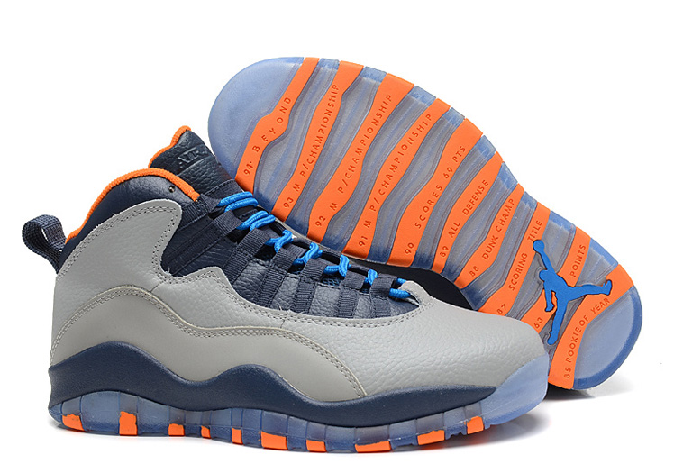 Wholesale Cheap Air Jordans 10 Retro Bobcats Wolf Grey New Slate-Atomic Orange-Dark Powder Blue - www.wholesaleflyknit.com