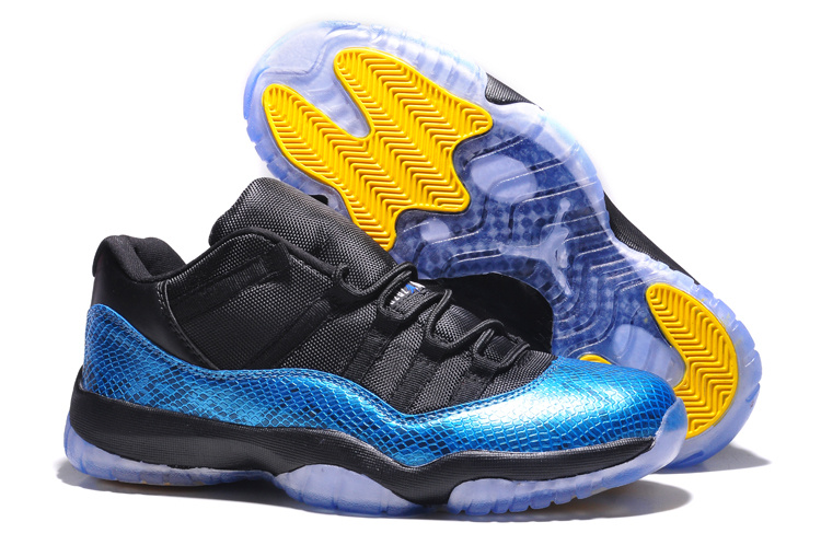 Wholesale Cheap Air Jordans 11 Retro Low Nightsnake Metallic Blue Snakeskin Black-Yellow For Sale - www.wholesaleflyknit.com