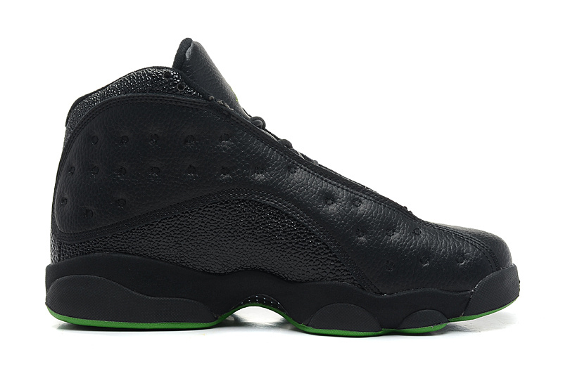 Wholesale Cheap Air Jordans 13 Retro Altitudes Black Leather Altitude Green For Sale - www.wholesaleflyknit.com