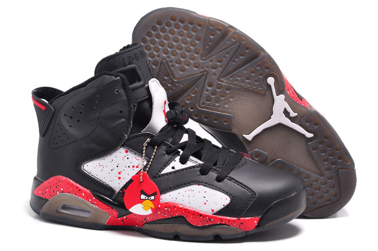Wholesale Cheap Air Jordans 6 Retro Custom Angry Birds Black-White Red Specked For Sale Online - www.wholesaleflyknit.com