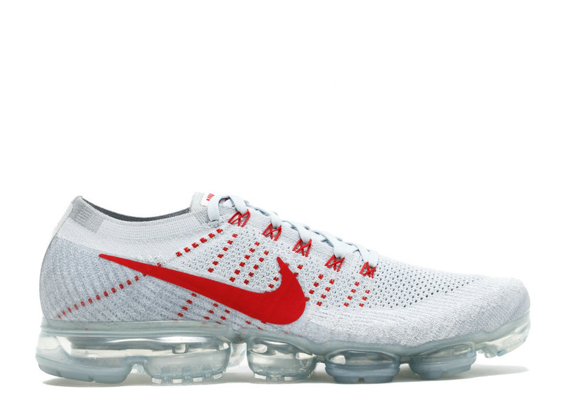 Wholesale Cheap Air VaporMax Nike Nike Air VaporMax Flyknit Pure Platinum University Red - www.wholesaleflyknit.com