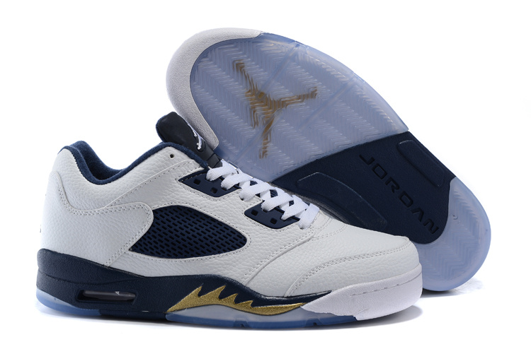 Wholesale Cheap Air Jordan 5 Low Dunk From Above White Metallic Gold Star-Midnight Navy - www.wholesaleflyknit.com