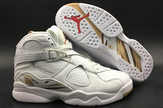Wholesale Cheap Air Jordan 8 OVO White Metallic Gold-Varsity Red-Blur For Sale - www.wholesaleflyknit.com