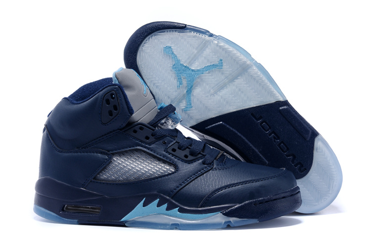 Wholesale Cheap Air Jordans 5 Hornets Midnight Navy Turquoise Blue-White For Sale - www.wholesaleflyknit.com