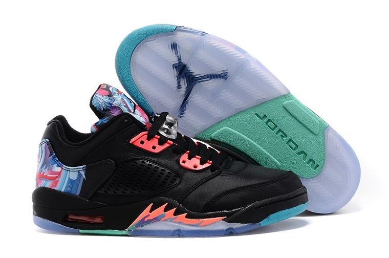 Wholesale Cheap Air Jordans 5 Low Chinese New Year Black Bright Crimson-Beta Blue Shoes - www.wholesaleflyknit.com
