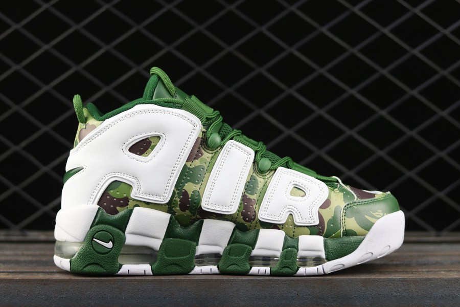 Wholesale Cheap BAPE x Nike Air More Uptempo 96 Green Camo White For Sale - www.wholesaleflyknit.com