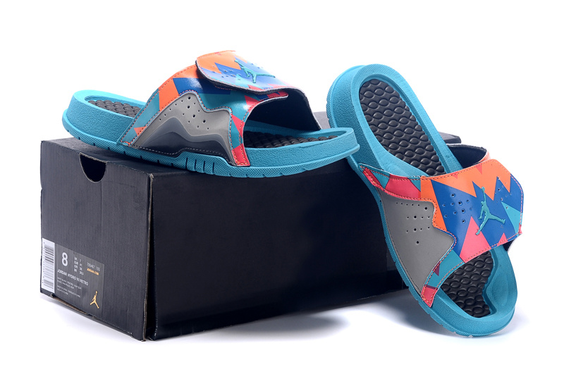 Wholesale Cheap Jordan Hydro 7 Retro Dark Grey Turquoise Blue-Total Orange Slide Sandals - www.wholesaleflyknit.com