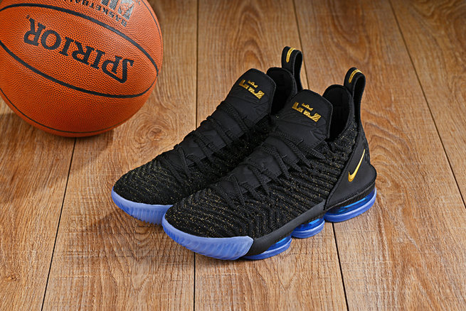 Cheap Lebron 16 Shoes Gold Black Blue- www.wholesaleflyknit.com