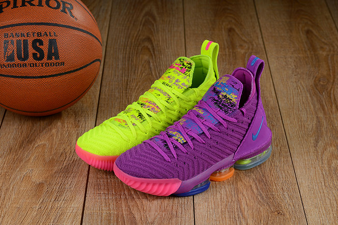 Cheap Lebron 16 Shoes Purple Green Pink What The- www.wholesaleflyknit.com