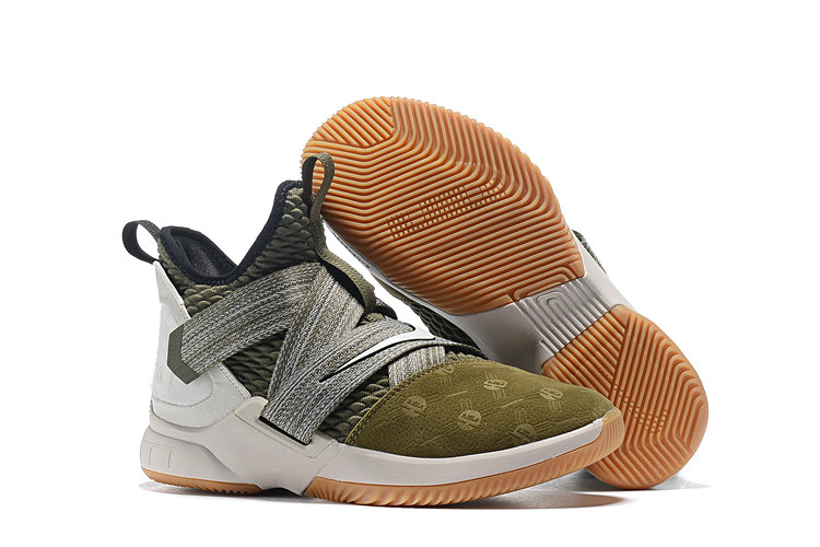 Cheap Lebron Soldier 12 Army Green Grey- www.wholesaleflyknit.com