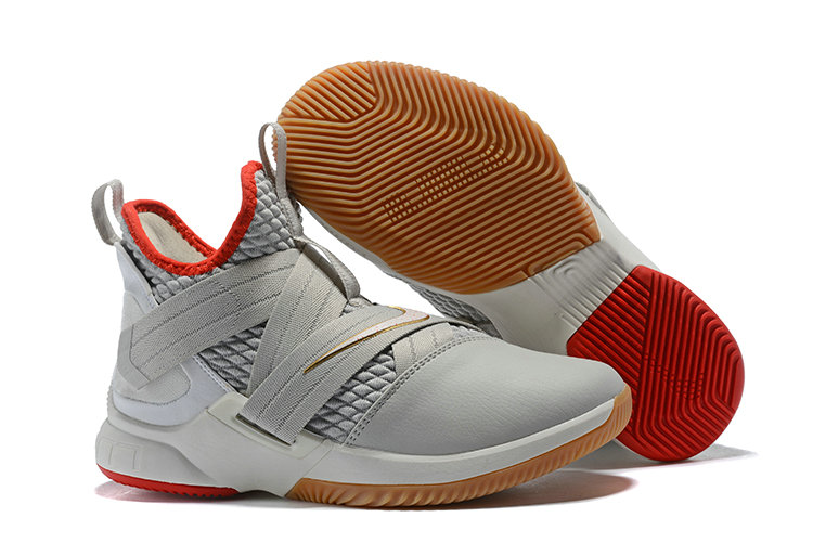 Cheap Lebron Soldier 12 Grey Red Gold- www.wholesaleflyknit.com