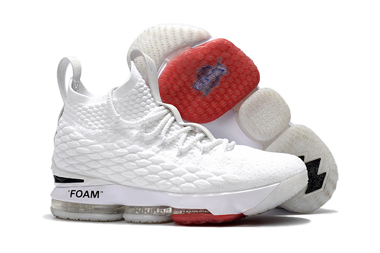 Wholesale Cheap NIKE OFF-WHITE x Nike LeBron 15 White For Sale - www.wholesaleflyknit.com