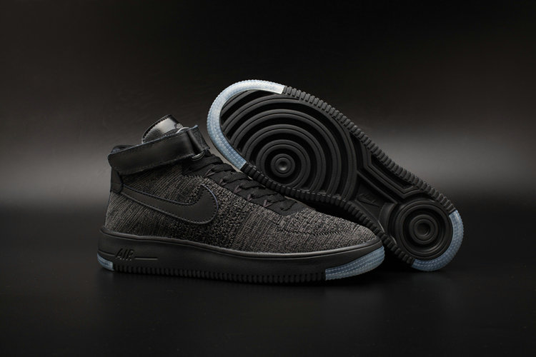 New 2018 Nike AF1 Cheap Wholesale x Nike Air Force One Ultra Flyknit Mid Black Dark Grey - www.wholesaleflyknit.com