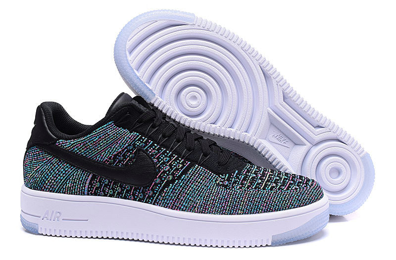 Wholesale Cheap Nike Air Force 1 Flyknit Low Black Colorful White - www.wholesaleflyknit.com