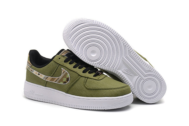 Wholesale Cheap Nike Air Force One Nike AF1 07 Mens Army Green Black Gold White - www.wholesaleflyknit.com