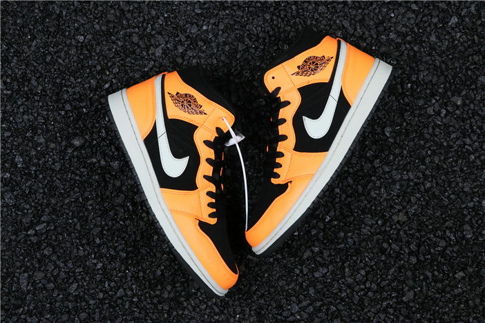 Cheapest Wholesale Nike Air Jordan 1 Mid Black Cone Light Bone Orange 554724-062 - www.wholesaleflyknit.com