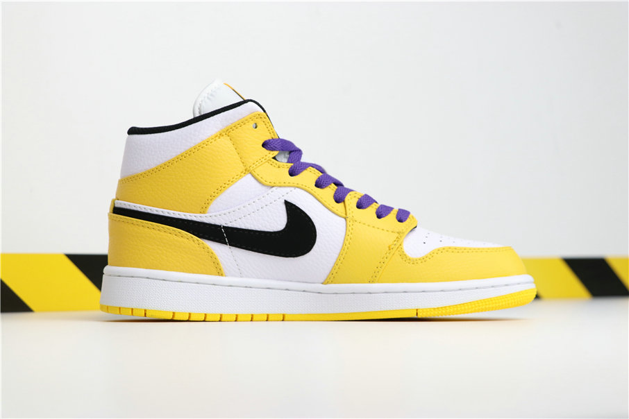 Cheapest Wholesale Nike Air Jordan 1 Retro Mid Lakers Yellow White Black Purple 852542-700 - www.wholesaleflyknit.com