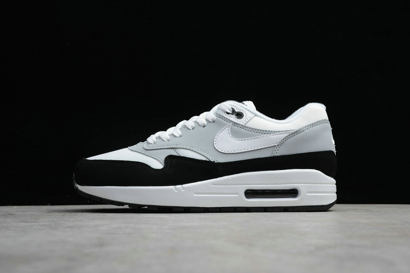 Cheap Wholesale Nike Air Max 1 AH8145-003 Wolf Grey White Black Gris Loup Noir Blanc- www.wholesaleflyknit.com