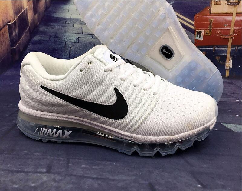 Wholesale Cheap Nike Air Max 2017 Mens All White Black Running Shoes - www.wholesaleflyknit.com