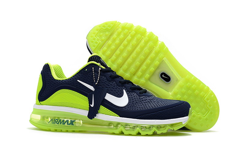 Wholesale Cheap Nike Air Max 2017 Mens Fluorescent Green Navy Blue Running Shoes - www.wholesaleflyknit.com