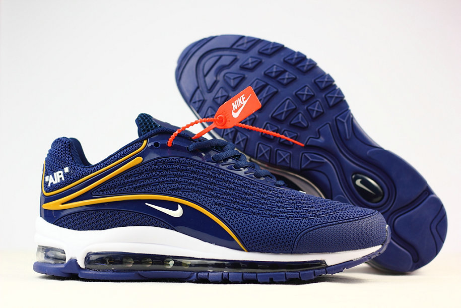 Cheap Wholesale Nike Air Max 2019 Running Shoes Blue Yellow White- www.wholesaleflyknit.com