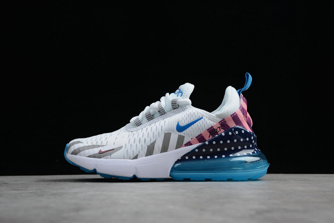 Cheap Wholesale Nike Air Max 270 AH6789-020 Mens Running Shoes White Blue Pink- www.wholesaleflyknit.com