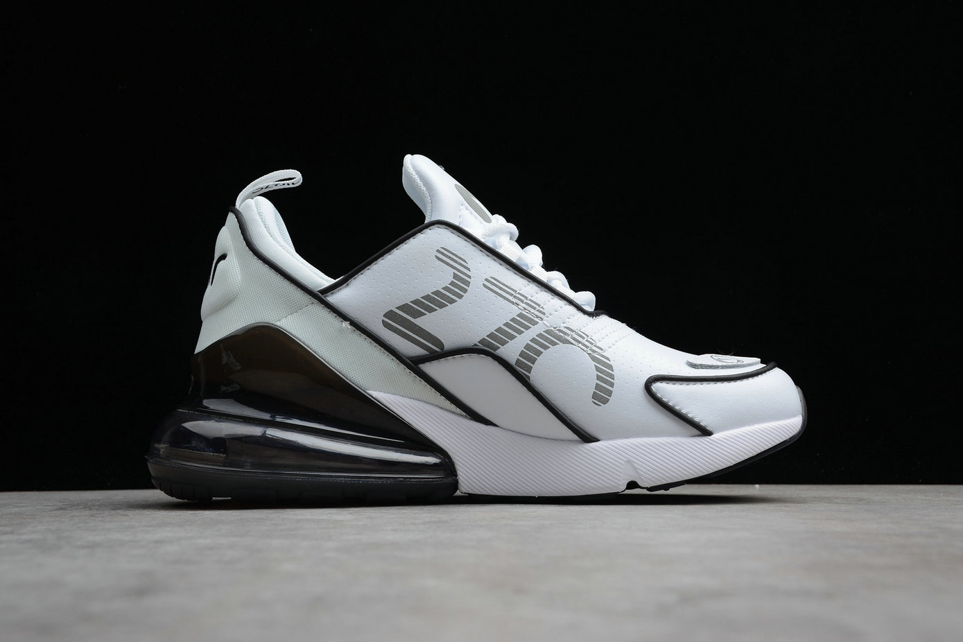 Cheap Wholesale Nike Air Max 270 Flyknit AH8060-100 Mens Running Shoes White Black Blanc Noir- www.wholesaleflyknit.com