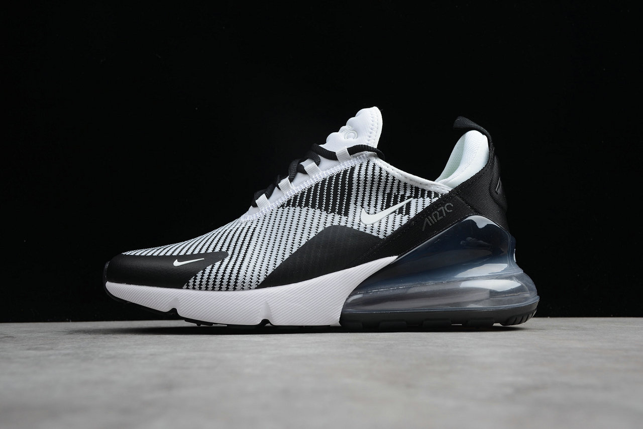 Cheap Wholesale Nike Air Max 270 Flyknit White Black Grey Running Shoes- www.wholesaleflyknit.com