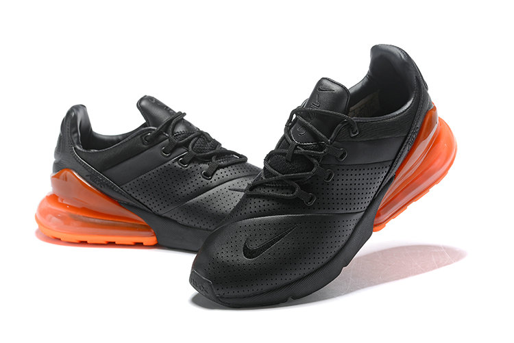 Cheap Wholesale Nike Air Max 270 Leather Black Orange- www.wholesaleflyknit.com