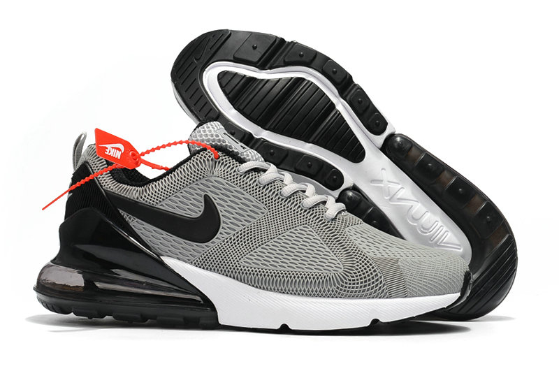 Cheap Wholesale Nike Air Max 270 Running Shoes Rubber Label Wolf Grey Black White- www.wholesaleflyknit.com
