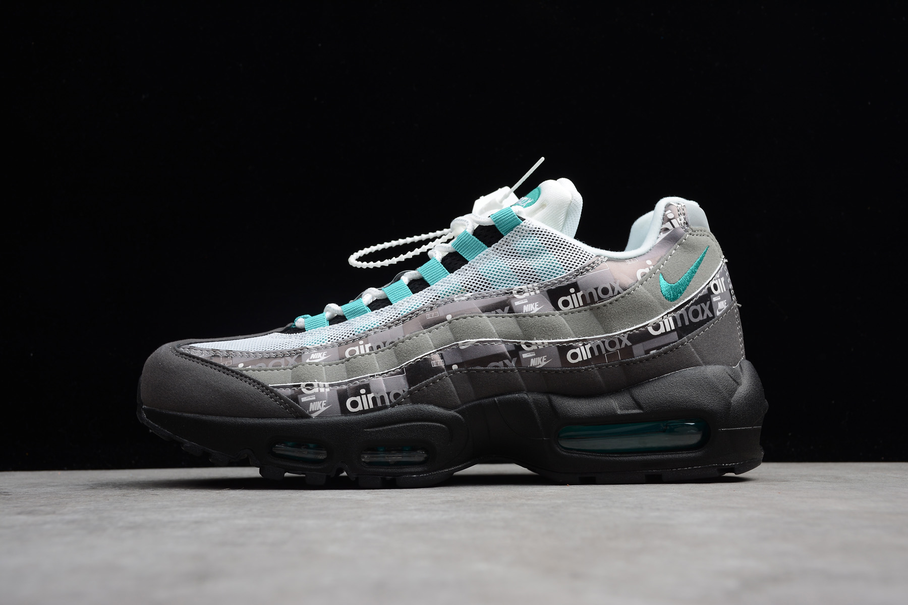 Cheap Wholesale Nike Air Max 95 Prnt AQ0925-001 Black Clear Jade Medium ASH Noir Cendre Moyen Jade Claire- www.wholesaleflyknit.com