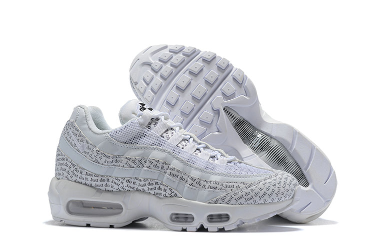 Cheap Wholesale Nike Air Max 95 Running Shoes Just Do It Triple White- www.wholesaleflyknit.com